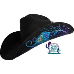 The original Sassy Cactus hat, our Rhinestone Peacock Feather Bling Straw , has been updated with a felt hat design in Swarovski rhinestones and hand painted glitter. Both sides of the brim of this 4X