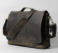 "Handmade Vintage Leather Briefcase / Leather Messenger Bag / 13"" 15"" MacBook 13"" 14"" 15"" Laptop Bag - n78-4 - Thumbnail 1"