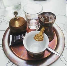Turkish coffee setup