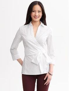 Tie-front dot wrap top | Banana Republic|White|100% Cotton  $49.99