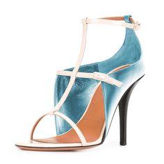 #FSJshoes - #FSJ Shoes Women's Light Blue T Strap Stiletto Heel Ankle Strap Sandals - AdoreWe.com