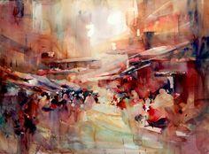 "Lin, Fealing - ""Market Rhapsody"" #watercolor, #landscape, #design, #composition, #art, #painting, #semi, #abstract"