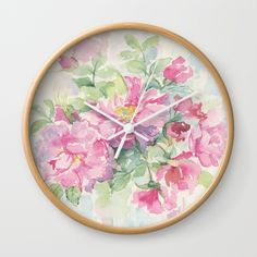 WILD ROSE Wall Clock. Decorative clock for bedroom or kitchen with wlide roses watercolour art print. #artprint #roses #wallclock