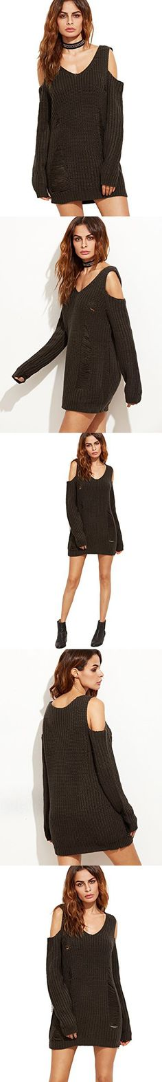 ROMWE Women's Casual Long Sleeve Cold Shoulder Ripped Sweater Dress Coffee One-size