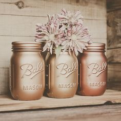 3 Painted mason jars. Vases. Centerpiece. by StyleJarsandCans