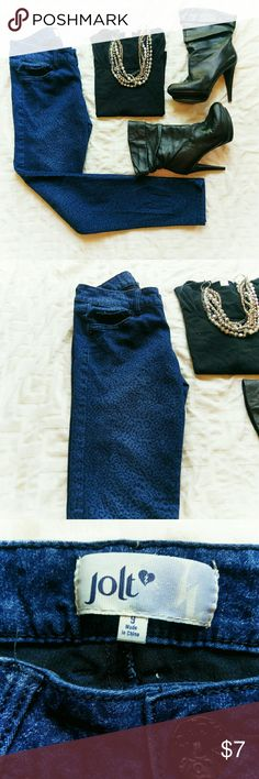 "Jolt animal print skinny jeans *Final Price Unless Bundled *No Offers *No Trades  Animal print skinnies in blue and black from Jolt Jeans. Juniors size 9 Normal fading in the thigh area, stitching is still solid and intact. 58% cotton, 32% polyester, 2% spandex GUC  Waist 30"" Inseam 30"" Front Rise 8.5"" Jolt Jeans Skinny"
