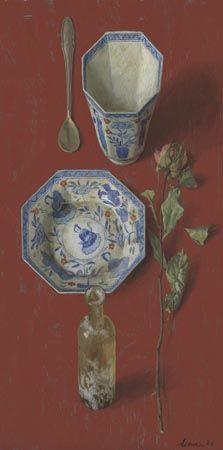 """Kenne Gregoire - """"Chinees Rood"""" - 50 x 25 cm olie op paneel - 2006 Liefdespaar - Recent Werk"""