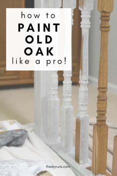 Painted Stair Railings, Oak Banister, Oak Handrail, Stair Spindles, Painted Staircases, Oak Stairs, Painted Stairs, Banisters, Staircase Painting