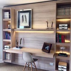 Interior Designs a Contemporary Apartment in Taipei – Trend Decor for You! Office Furniture Design, Office Interior Design, Interior Design Living Room, Classy Living Room, Desk In Living Room, Study Room Design, Home Library Design, Home Office Setup, Home Office Space