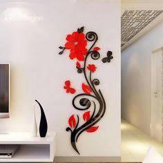 Beautiful Acrylic Flower Shape Home Decorative Wall Stickers wall art - Wall Art Wall Painting Decor, 3d Wall Art, Wall Stickers Home Decor, Wall Decals, Wall Art Designs, Wall Design, Simple Wall Paintings, Acrylic Flowers, Acrylic Art