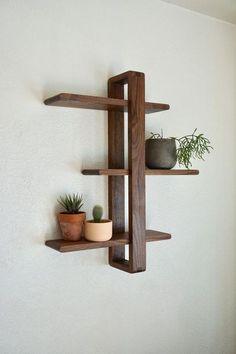 Modern Wall Shelf, Solid Walnut for Hanging Plants, Books, Photos. Mid-century/Scandinavian Inspired Modern Wall Shelf Solid Walnut for Hanging Plants Books