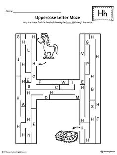 Uppercase Letter H Maze Worksheet Worksheet.If you are looking for creative ways to help your preschooler or kindergartener to practice identifying the letters of the alphabet, the Uppercase Letter Maze is the perfect activity. Letter H Worksheets, Maze Worksheet, Homeschool Worksheets, English Worksheets For Kids, Letter Activities, Kids Learning Activities, Letter Maze, Body Parts Preschool, Kindergarten Classroom Decor