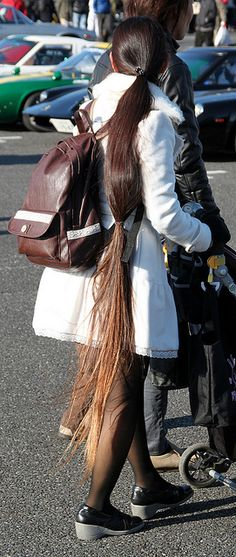 Long Hair And White Wool Coat by ribbon_satin, via Flickr