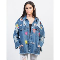 Oversized Patched Denim Jacket (€41) ❤ liked on Polyvore featuring outerwear, jackets, blue jackets, long sleeve jacket, jean jacket, lightweight denim jacket and patched jean jacket