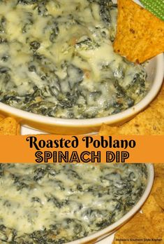 Roasted Poblano Spinach Dip - Spinach dip is one of my all-time favorite make ahead appetizers to prepare. Either the cold classic spinach dip that we all know and love or a warm gooey baked version like this roasted poblano spinach dip. Dip Recipes, Mexican Food Recipes, Cooking Recipes, Recipies, Mexican Spinach Dip Recipe, Healthy Spinach Dip, Mexican Dinners, Spinach Recipes, Vegetable Recipes
