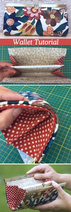 Frame Accordion Wallet Tutorial - Best Picture For DIY Wallet te Sew Wallet, Fabric Wallet, Fabric Bags, Purse Patterns, Sewing Patterns Free, Sewing Tutorials, Sewing Projects, Bag Tutorials, Sewing Hacks