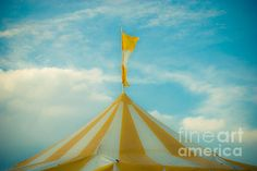 Yellow circus tent. Amusement park photo. http://fineartamerica.com/featured/yellow-circus-tent-sonja-quintero.html #carnivals #nurseryart #photography