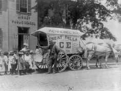 1899-A horse-drawn wagon parked in front of a Birney Public School (Washington DC's first public school for blacks). School children are lined up with their teacher behind the wagon as man shows them large chunk of ice suspended by tongs.