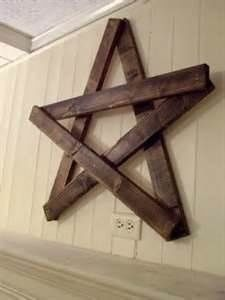 wood star made with pallet boards. String it with lights and put it on your roof as a decoration during Christmas time. We've been doing it for 25 years! Looks awesome!