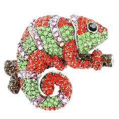 Green and Orange on Silver Plated Chameleon Brooch -- More info could be found at the image url.
