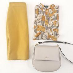 J.Crew no.2 mustard double serge pencil skirt. Ann Taylor floral ruffle shell, Kate Spade cameron street byrdie