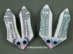 Money Easter Bunny Dollar Folded