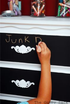 Creative dresser redo with painting drawers like a  chalkboard for labeling what's inside.