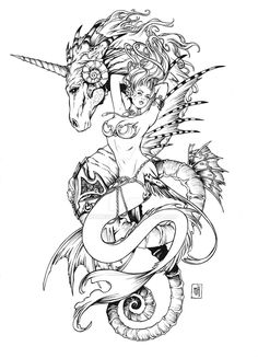 2017/07/14 Unicorn and Mermaid - Tattoo Design by Kromespawn.deviantart.com on @DeviantArt