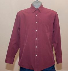 J Crew Tiny Gingham Check Long Sleeve Casual Dress Shirt Large L Mens Red Soft  #JCrew #ButtonFront