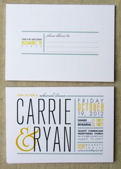 Rehearsal dinner postcard invitation, modern wedding invitation, gray and yellow wedding. $1.80, via Etsy.