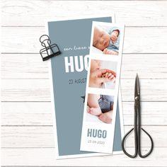 Trendy blauw geboortekaartje voor een jongen met losse fotostrip.