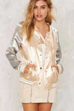 Ballpark Satin Bomber Jacket - Gold - Jackets + Coats. Goals. Pretty.