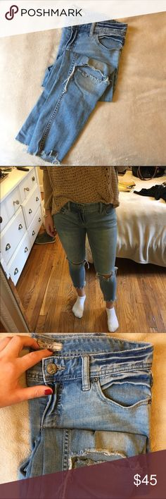 Free People Jeans Size 27 Free People jeans. Light wash. Ripped knees and ankles. Great condition! Free People Jeans Skinny