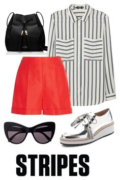 """""""Stripes. Black, white and red."""" by ondina-fortes ❤ liked on Polyvore featuring Kate Spade, MANGO, Oscar de la Renta, Loeffler Randall and STELLA McCARTNEY"""