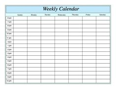 weekly calendar templates for word