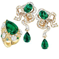 Dior Emerald and Diamond Earrings and Chanel Emerald and Diamond Ring