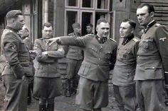 Nazi SS A collection of evil at Auschwitz - Left to right: Josef Kramer, Dr. Josef Mengele, Richard Baer, Karl Höcker, and an unidentified bastard. Luftwaffe, Germany Ww2, Holocaust Memorial, The Third Reich, Album, World War Two, Historical Photos, Bergen, Wwii