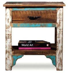 Rustic Distressed Reclaimed Wood Nightstand /End Table