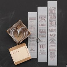 Boundless Love - Invitation from Carlson Craft - Item Number: RRN4854NGNAMB - This heart invitation unfolds to reveal the details of your special day. #CarlsonCraft #wedding