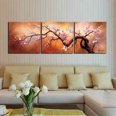 Shop for Hand-painted 'Yellow Plum blossom' Gallery-wrapped Canvas Art Set. Get free delivery On EVERYTHING* Overstock - Your Online Art Gallery Destination! 3 Canvas Paintings, Oil Painting On Canvas, 3 Piece Painting, 3 Piece Wall Art, Hand Painted Walls, Living Room Pictures, Room Paint, Acrylic Art, Canvas Wall Art