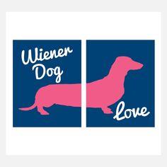 Wiener Dog Love Print Set