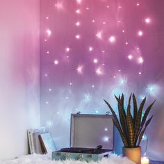 Bring on-trend, industrial looks to your residence by selecting this Merkury Innovations Multi-Color LED Curtain Cascading Lighting. Decoration Bedroom, Cute Room Decor, Teen Room Decor, Room Ideas Bedroom, Galaxy Bedroom Ideas, Room Lights Decor, Cool Bedroom Lighting, Teen Room Lights, Bedroom Fairy Lights