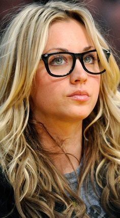 Kaley Cuoco. Blonde, green eyes and glasses. Annnnd I'm done.