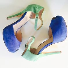 "BCBGeneration ""LIN"" Suede Platform Pump size 8 BCBGeneration ""LIN"" Platform Peep Toe Ankle Strap Colorblock Pump in size 8. Gorgeous Colors: Spectrum Blue & Spearmint in Genuine Kid Suede. Brand new in box, never been worn! BCBGeneration Shoes Platforms"