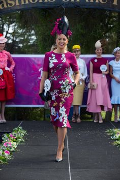 Plum dress with sleeve, love the addition of a glove