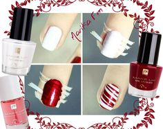 NAIL ART DEEP RED STRIPES WHITE - n103 Base trattante al calcio - n035 Smalto White lily - n010 Smalto Deep scarlet #nails #nailart #trend #fashion #outfit #moda #FMGroup #FMGroupItalia #makeup #passion #look #tutorial