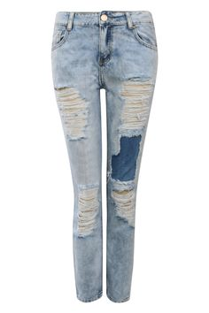 Cropped High Waisted Ripped and Patch Mom Jeans in Denim