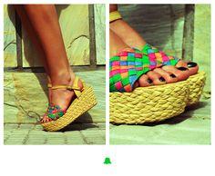 ☆ NEW ARRIVALS ☆  Sandalia con plataforma de yute y cinta trenzada