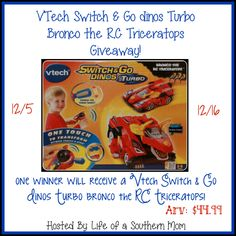 Enter VTech Switch & Go Dinos Turbo Giveaway! FANTASTIC GIVEAWAY! Enter At http://www.budgetearth.com and look for the Giveaway on the Right Hand side! YOU KNOW THAT I MOST DEFINITELY ENTERED!!!!!!!!!!!!!!!!!!!!!!! Thanks, Michele :)