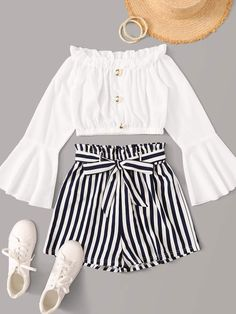 Shein Button Front Frill Trim Top With Striped Belted Shorts Source by ShopStyle Outfits shorts Cute Lazy Outfits, Teenage Girl Outfits, Girls Fashion Clothes, Summer Fashion Outfits, Teenager Outfits, Girly Outfits, Cute Fashion, Pretty Outfits, Stylish Outfits